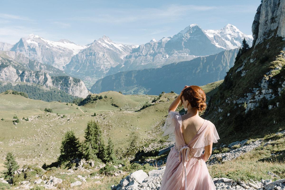bride pink dress Schynige Platte, engagement photoshoot