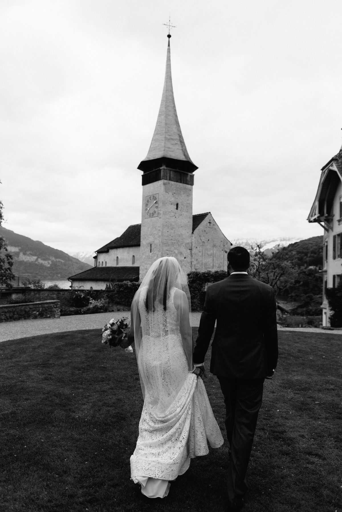 Church at Schloss Spiez Lake Thun swiss mountain wedding